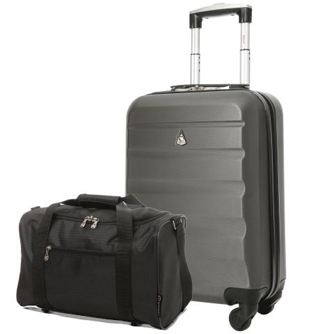 Aerolite (55x35x20cm) Lightweight Hard Shell Cabin  Luggage and (40x20x25cm) Black Holdall