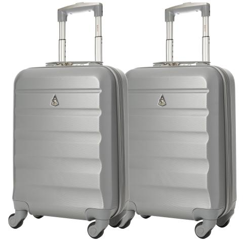 Aerolite (55x35x20cm) Lightweight Hard Shell Cabin Hand Luggage (x2 Set)
