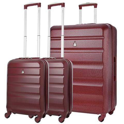Aerolite Hard Shell Suitcase Luggage Travel Bundle (2 x Cabin Hand Luggage + 1 x Large Hold Luggage Suitcase)