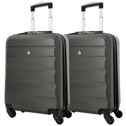 Aerolite (55x40x20cm) Lightweight Hard Shell Cabin Hand Luggage | 4 Wheels  (x2 Set)
