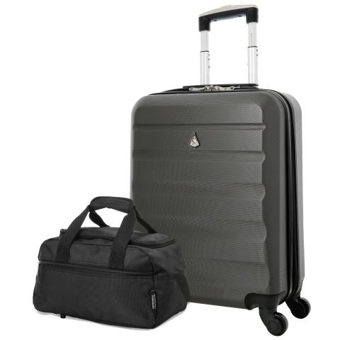 Aerolite (55x40x20cm) Lightweight Hard Shell Cabin Hand Luggage and (35x20x20cm) Black Holdall | 4 Wheels