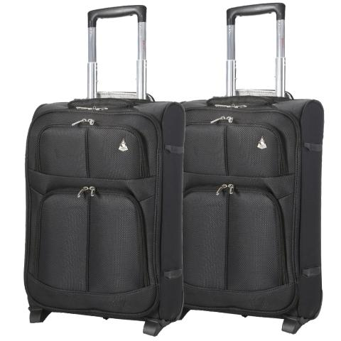 Aerolite (55x35x20cm) Lightweight Cabin Hand Luggage (x2 Set) | 2 Wheels