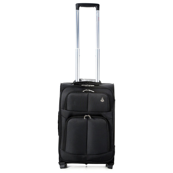 Aerolite (55x35x20cm) Lightweight Cabin Hand Luggage Black and (35x20x20cm) 5 Cities Black Holdall | 2 Wheels