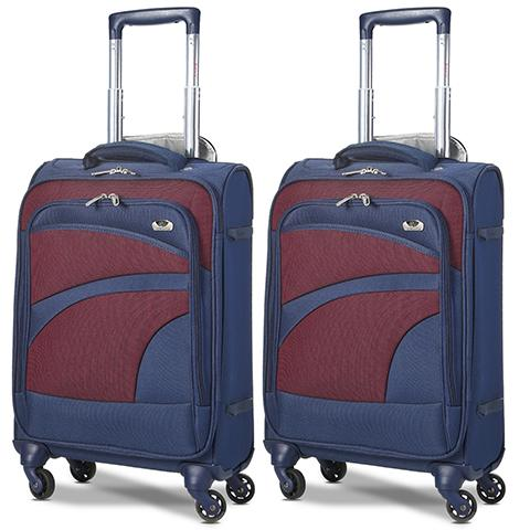 Aerolite (47x35x20cm) Lightweight Soft Shell Cabin Hand Luggage (x2 Set) | 4 Wheels
