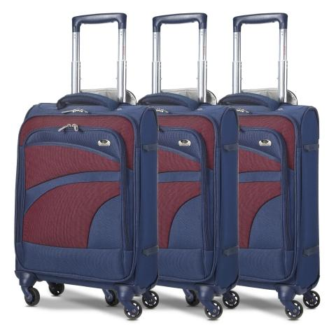 Aerolite (47x35x20cm) Lightweight Soft Shell Cabin Hand Luggage (x3 Set) | 4 Wheels