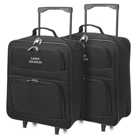 5 Cities (55x40x20cm) Lightweight Folding Cabin Hand Luggage (x2 Set)