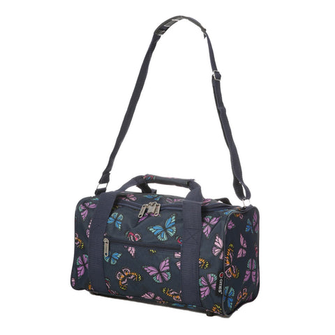 5 Cities (55x35x20cm) Lightweight Cabin Hand Luggage and (35x20x20cm) Holdall Flight Bag (Black + Navy Floral)