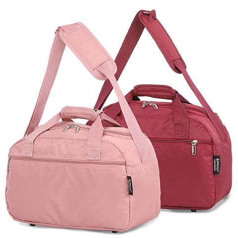 Aerolite (35x20x20cm) Hand Luggage Holdall Bag - Rose Gold + Wine