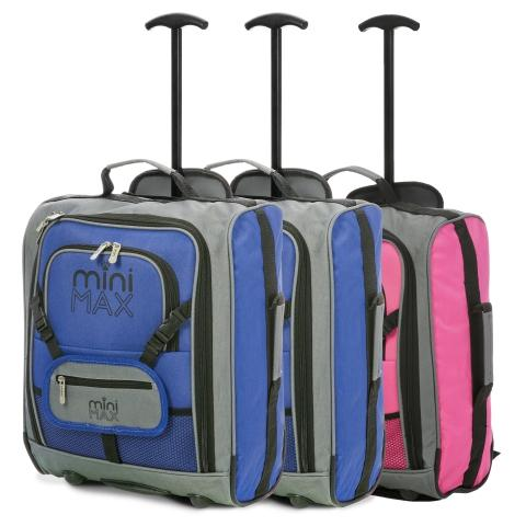MiniMAX (45x35x20cm) Childrens Luggage Carry On Suitcase with Backpack and Pouch (x2 Blue + x1 Pink)