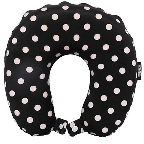 Frenzy Travel Pillow Neck Memory Foam Cushion - Polka Dots Black