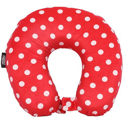 Frenzy Travel Pillow Neck Memory Foam Cushion - Polka Dots Red