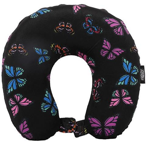Frenzy Travel Pillow Neck Memory Foam Cushion - Butterflies Black