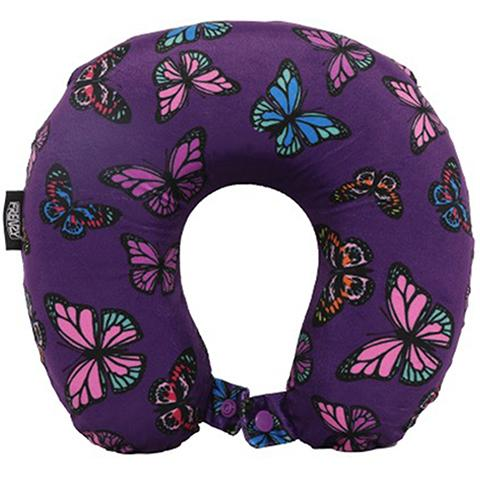 Frenzy Travel Pillow Neck Memory Foam Cushion - Butterflies Purple