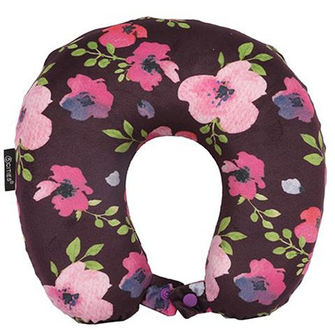 5 Cities Travel Pillow Neck Memory Foam Cushion - Floral Purple