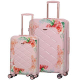 Aerolite Premium Hard Shell Hand Luggage Set (Cabin + Medium) - Floral Pink