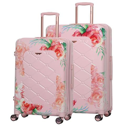 Aerolite Premium Hard Shell Hand Luggage Set (Cabin + Large) - Floral Pink