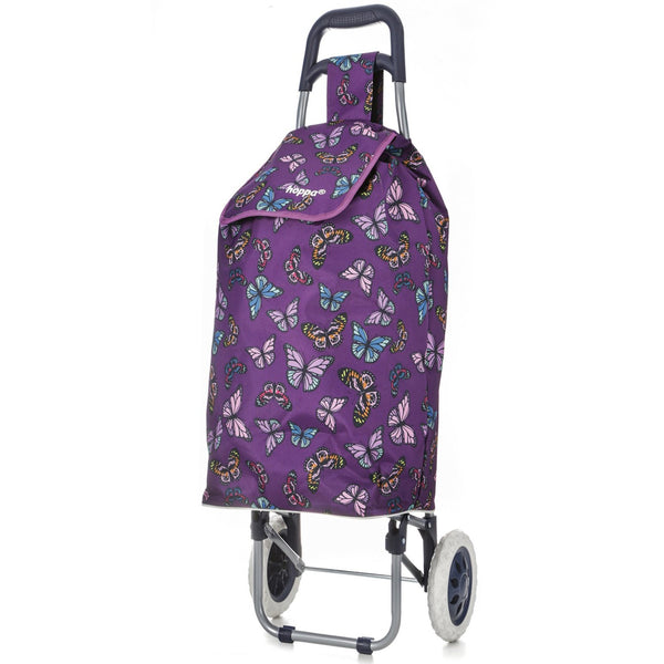 Hoppa Mini 47L (60x33x24cm) Lightweight Wheeled Shopping Trolley - Black + Purple