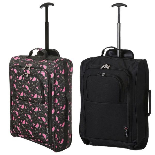 5 Cities (55x35x20cm) Lightweight Cabin Hand Luggage Set (Black + Black Watermelon)