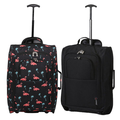 5 Cities (55x35x20cm) Lightweight Cabin Hand Luggage Set (Black + Black Flamingos)