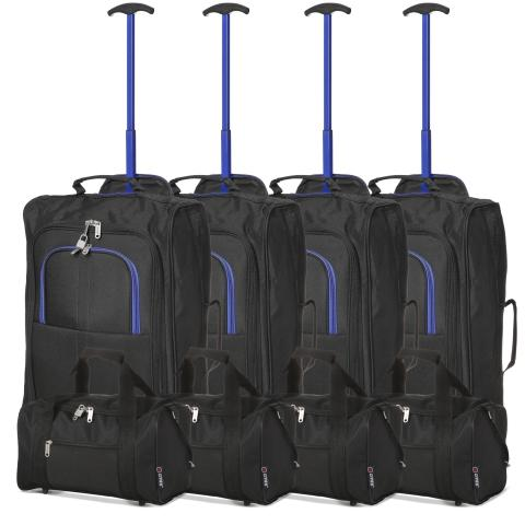 5 Cities (55x35x20cm) Lightweight Cabin Hand Luggage and (35x20x20cm) Holdall Flight Bag (x8 Set)