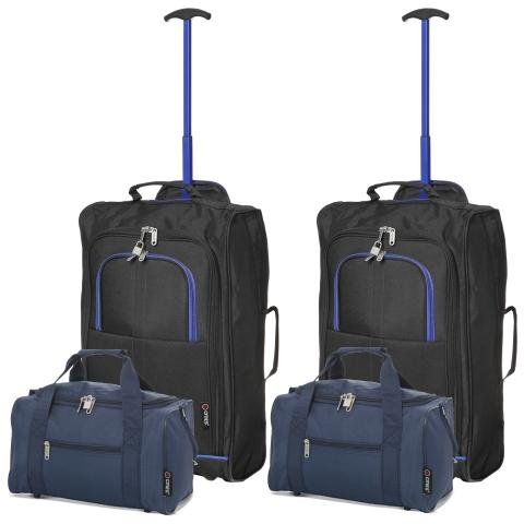 5 Cities (55x35x20cm) Lightweight Cabin Hand Luggage and (35x20x20cm) Holdall Flight Bag (x4 Set) - Navy