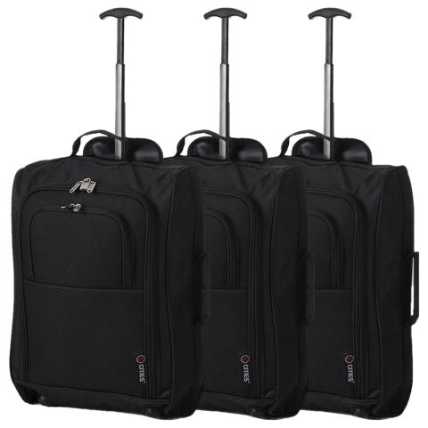 5 Cities (55x35x20cm) Lightweight Cabin Hand Luggage (x3 Set) - Black