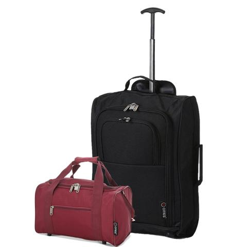 5 Cities (55x35x20cm) Lightweight Cabin Hand Luggage and (35x20x20cm) Holdall Flight Bag (Black + Wine)