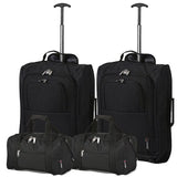 5 Cities (55x35x20cm) Lightweight Cabin Hand Luggage and (35x20x20cm) Holdall Flight Bag (x4 Set)