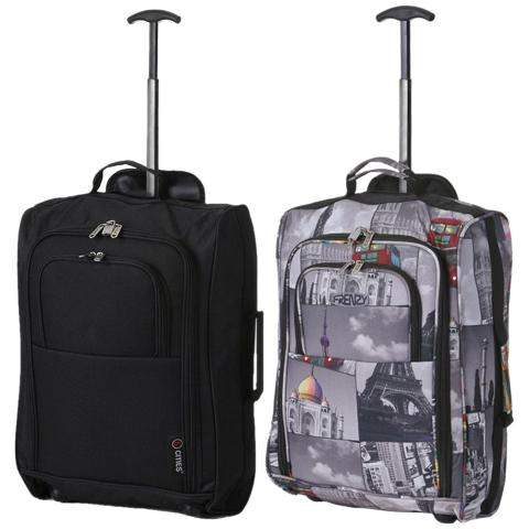 5 Cities (55x35x20cm) Lightweight Cabin Hand Luggage Set (Black + Cities)