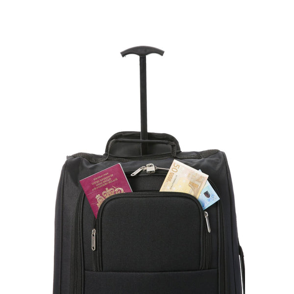 5 Cities (55x35x20cm) Lightweight Cabin Hand Luggage and (35x20x20cm) Holdall Flight Bag (Black + Cities)