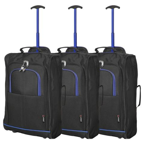 5 Cities (55x35x20cm) Lightweight Cabin Hand Luggage Set (Black & Blue x3)