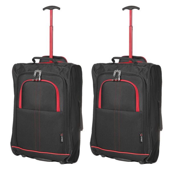 5 Cities (55x35x20cm) Lightweight Cabin Hand Luggage (x2)