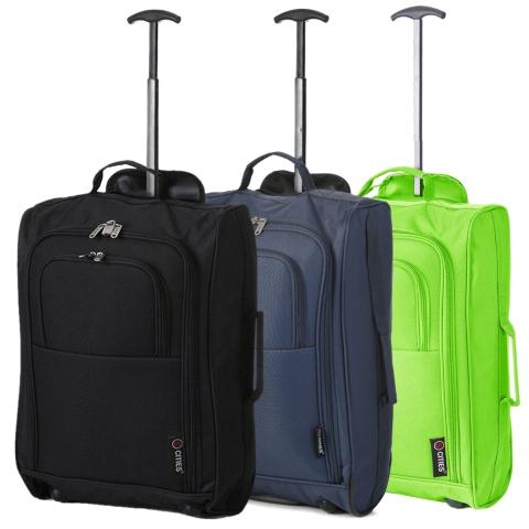 5 Cities (55x35x20cm) Lightweight Cabin Hand Luggage Set (Black + Navy + Green)