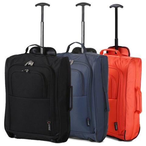 5 Cities (55x35x20cm) Lightweight Cabin Hand Luggage Set (Black + Navy + Orange)