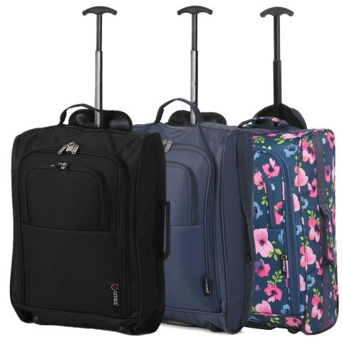 5 Cities (55x35x20cm) Lightweight Cabin Hand Luggage Set (Black + Navy + Raspberry)