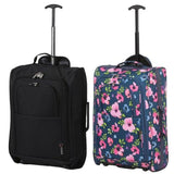 5 Cities (55x35x20cm) Lightweight Cabin Hand Luggage Set (Black + Navy Floral)
