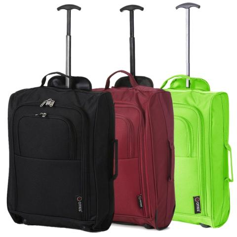 5 Cities (55x35x20cm) Lightweight Cabin Hand Luggage Set (Black + Wine + Green)