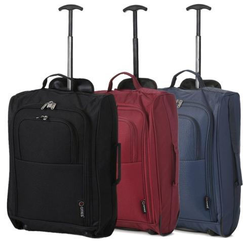 5 Cities (55x35x20cm) Lightweight Cabin Hand Luggage Set (Black + Wine + Navy)