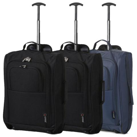 5 Cities (55x35x20cm) Lightweight Cabin Hand Luggage Set (Blue + Black x2)