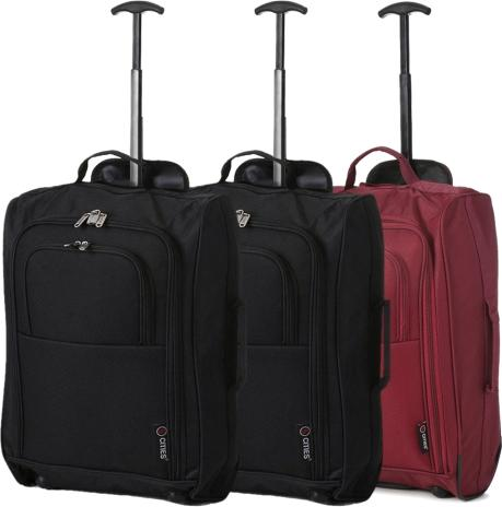 5 Cities (55x35x20cm) Lightweight Cabin Hand Luggage Set (Wine + Black x2)