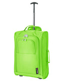 5 Cities (55x35x20cm) Lightweight Cabin Hand Luggage Set (Green + Rose Gold)