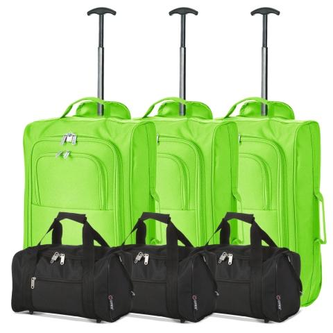 5 Cities (55x35x20cm) Lightweight Cabin Hand Luggage and (35x20x20cm) Holdall Flight Bag (x6 Set)
