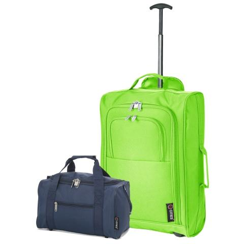 5 Cities (55x35x20cm) Lightweight Cabin Hand Luggage and (35x20x20cm) Holdall Flight Bag - Navy