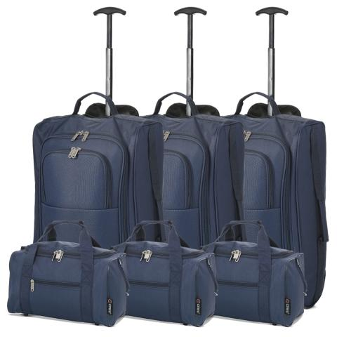 5 Cities (55x35x20cm) Lightweight Cabin Hand Luggage and (35x20x20cm) Holdall Flight Bag (x6 Set) - Navy
