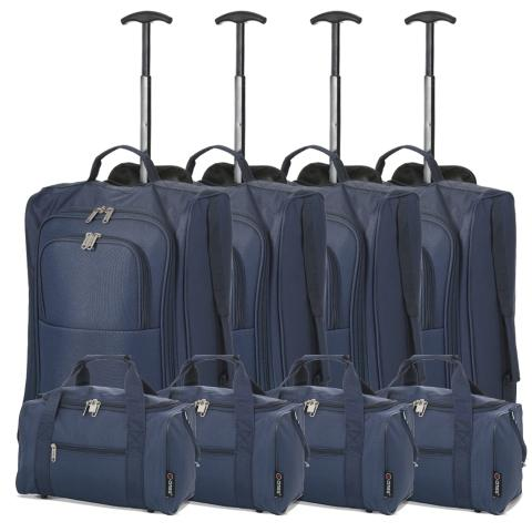 5 Cities (55x35x20cm) Lightweight Cabin Hand Luggage and (35x20x20cm) Holdall Flight Bag (x8 Set) - Navy