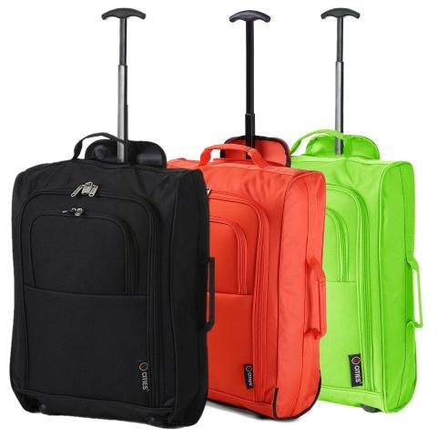 5 Cities (55x35x20cm) Lightweight Cabin Hand Luggage Set (Black + Orange + Green)
