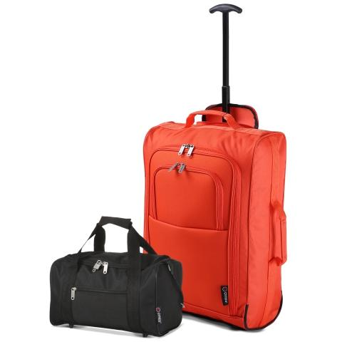 5 Cities (55x35x20cm) Lightweight Cabin Hand Luggage and (35x20x20cm) Holdall Flight Bag