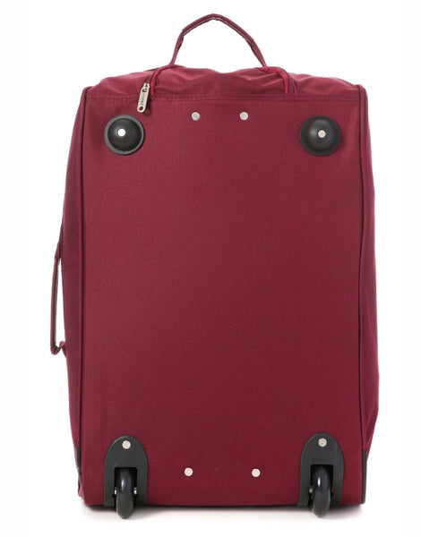 5 Cities (55x35x20cm) Lightweight Cabin Hand Luggage and (35x20x20cm) Holdall Flight Bag - Wine