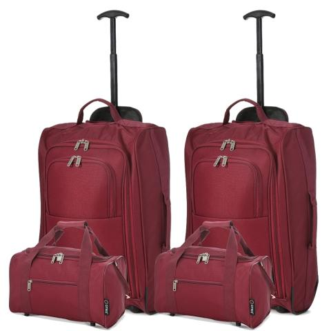 5 Cities (55x35x20cm) Lightweight Cabin Hand Luggage and (35x20x20cm) Holdall Flight Bag (x4 Set) - Wine
