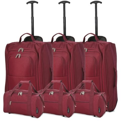 5 Cities (55x35x20cm) Lightweight Cabin Hand Luggage and (35x20x20cm) Holdall Flight Bag (x6 Set) - Wine
